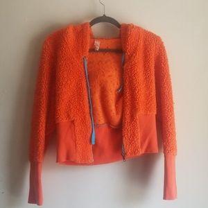 Vintage Free People Orange Fuzzy Crop Hoodie